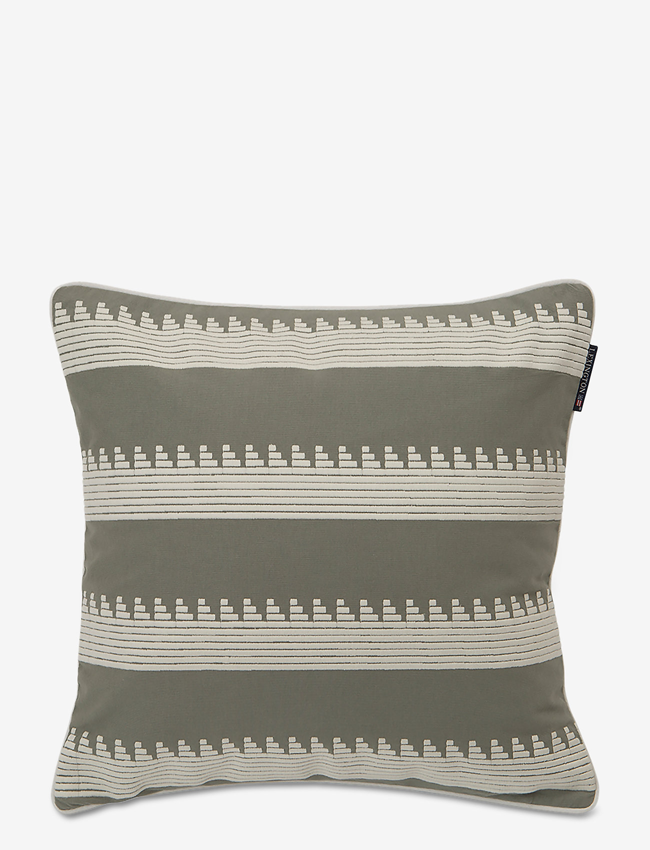 Lexington Home - Embroidery Striped Sham - poszewki na poduszki ozdobne - green/white - 0