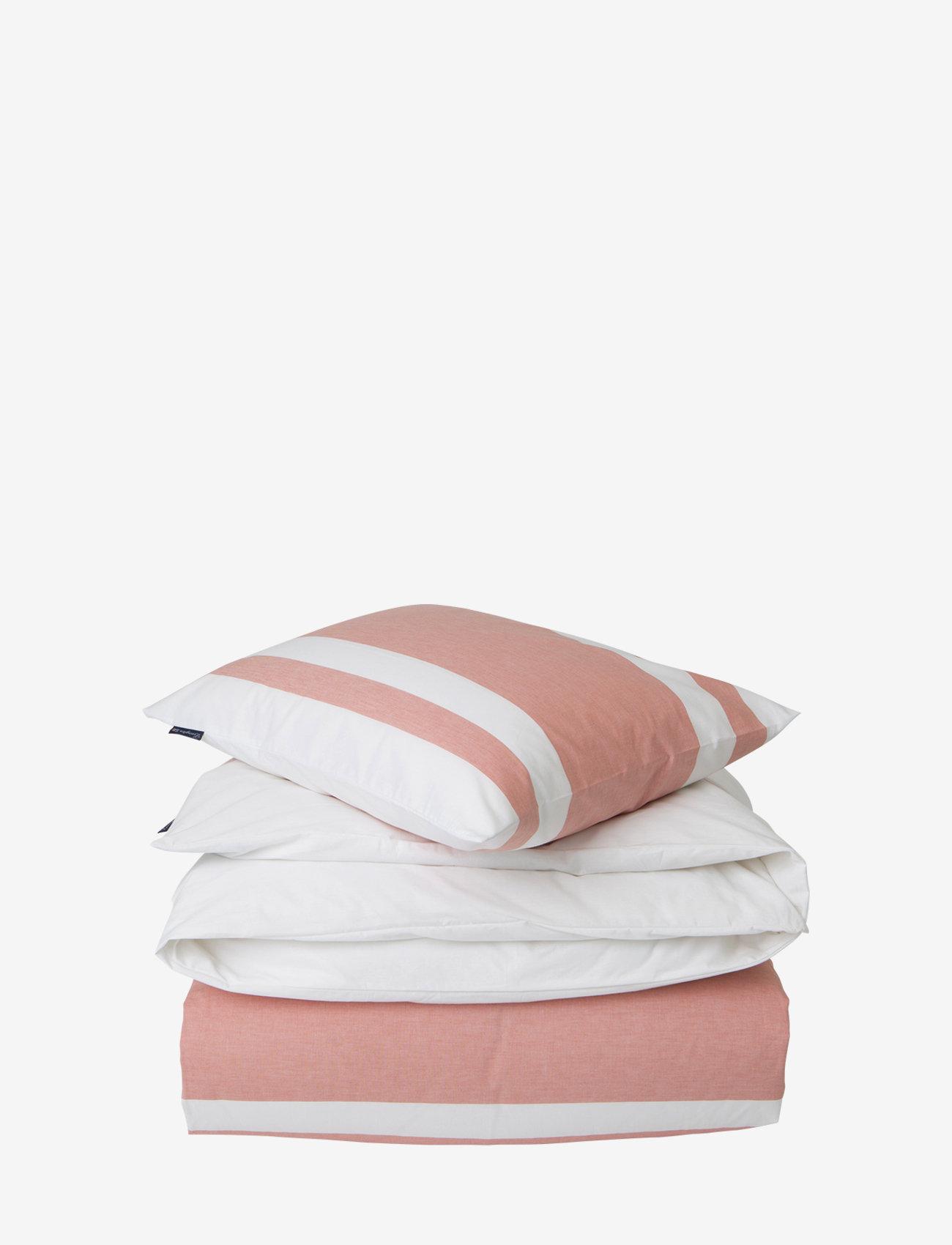 Lexington Home - Apricot Horizontal Striped Poplin Set - bedding sets - white/apricot - 0