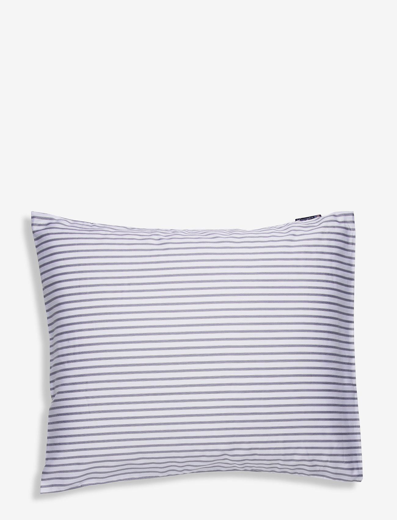 Lexington Home - Striped Tencel/Cotton Pillowcase - pudebetræk - white/steel blue - 0