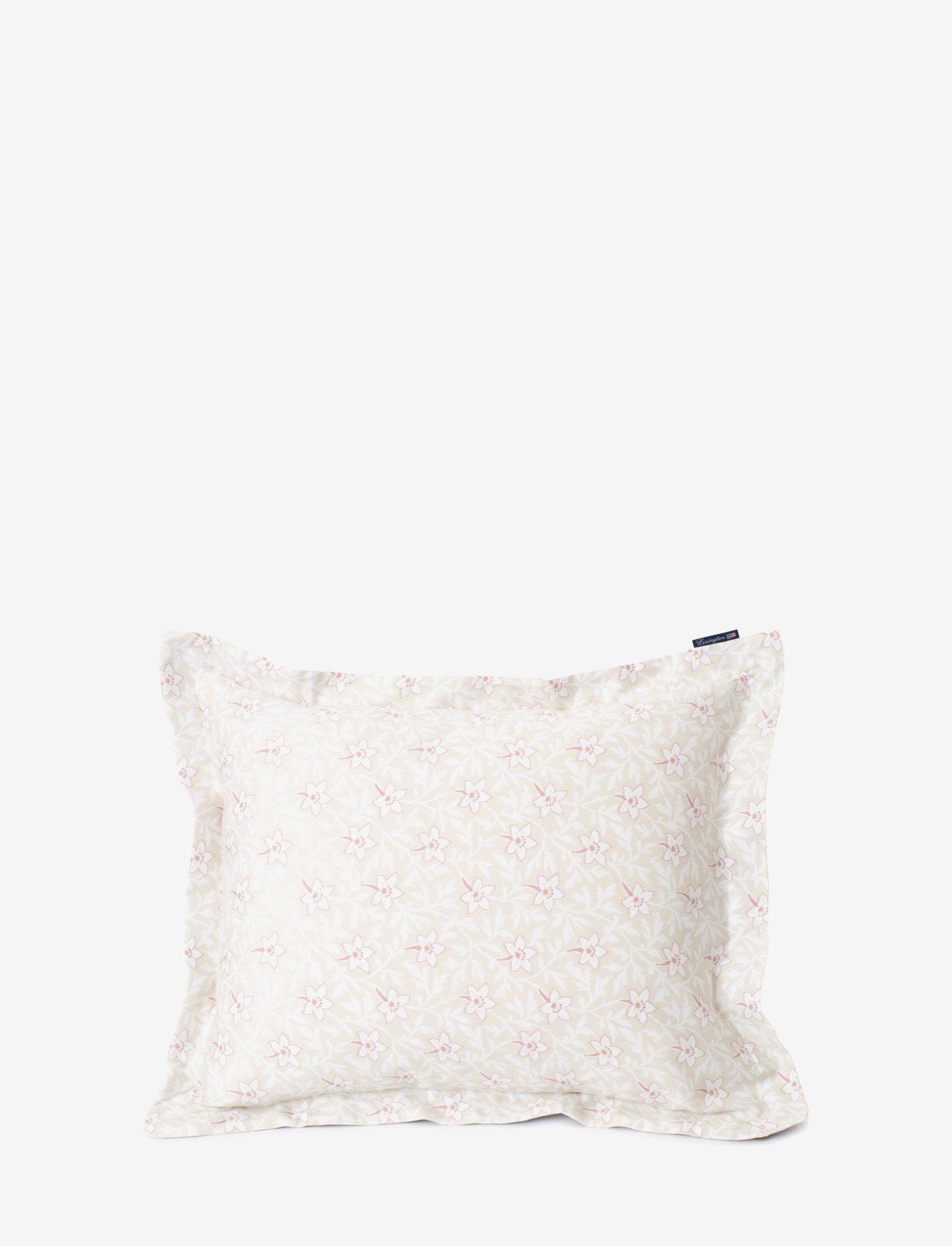 Lexington Home - LtBeige/Pink Flower Print Cotton Sateen Pillowcase - pillowcases - lt beige/pink - 0