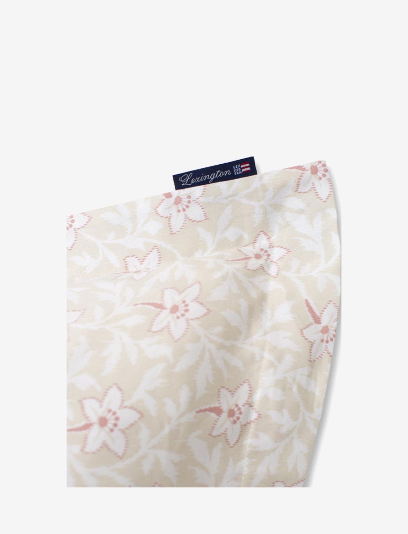 Lexington Home - LtBeige/Pink Flower Print Cotton Sateen Pillowcase - pillowcases - lt beige/pink - 1