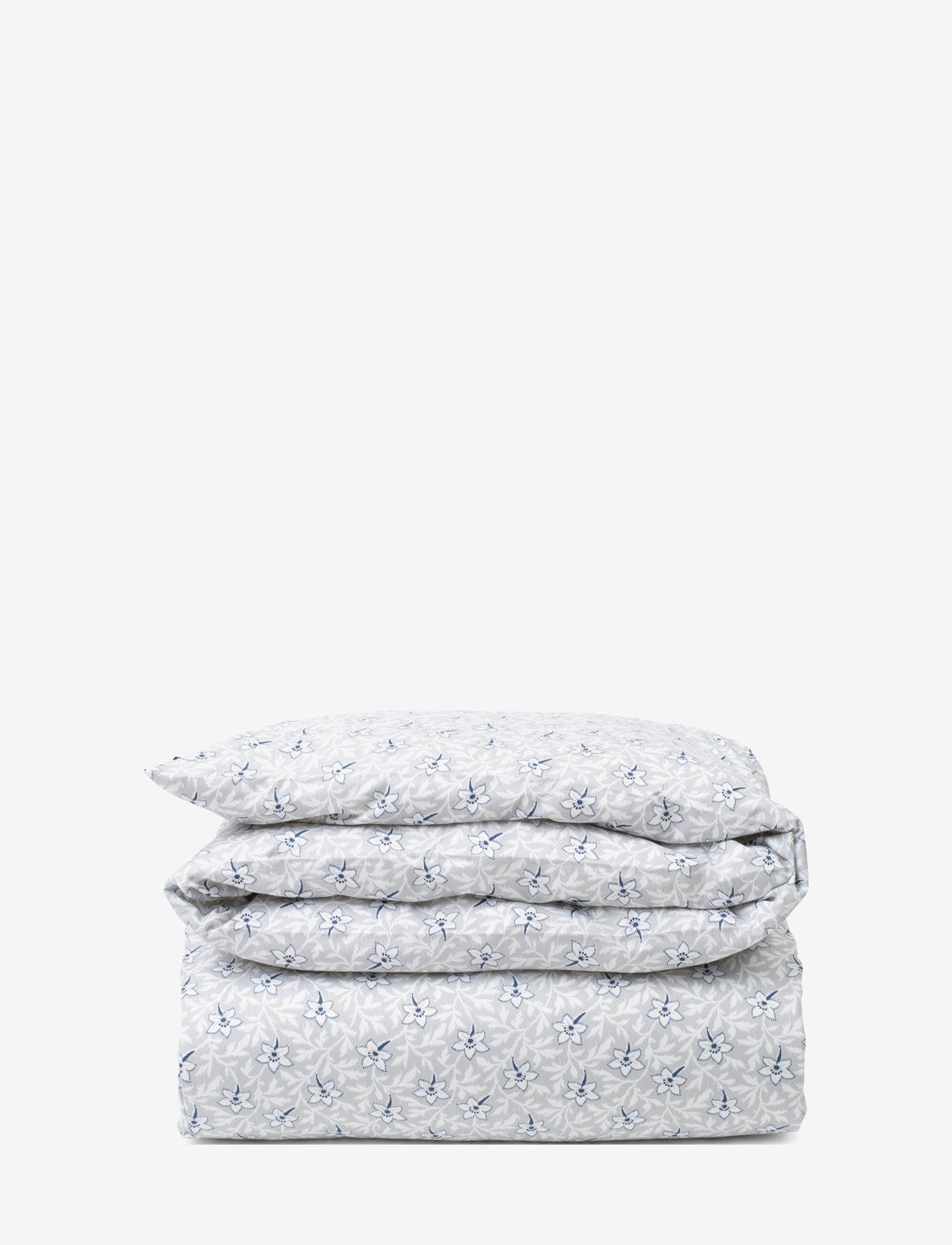 Lexington Home - LtGray/Blue Flower Print Cotton Sateen Duvet Cover - housses de couette - lt. gray/blue - 0