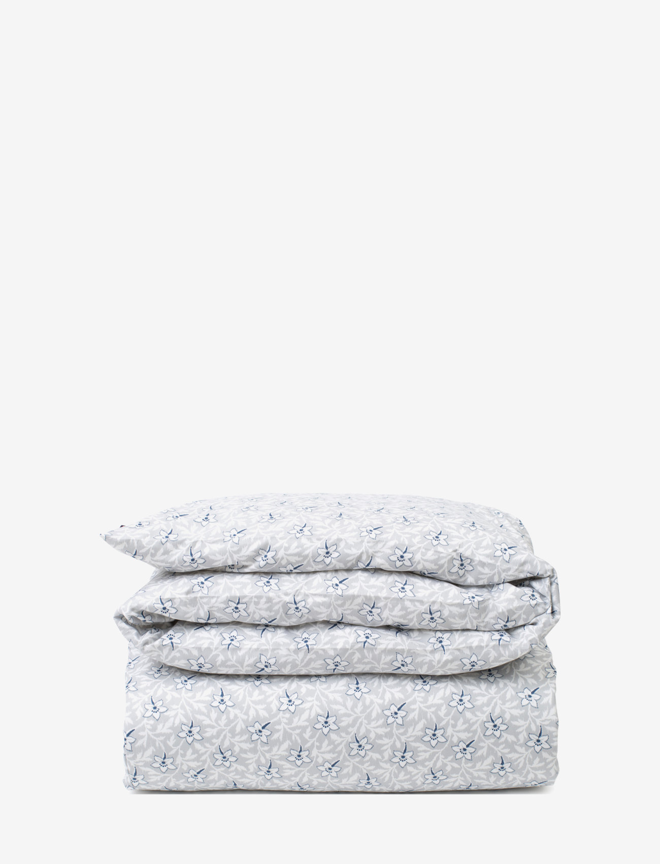Lexington Home - LtGray/Blue Flower Print Cotton Sateen Duvet Cover - duvet covers - lt. gray/blue - 0