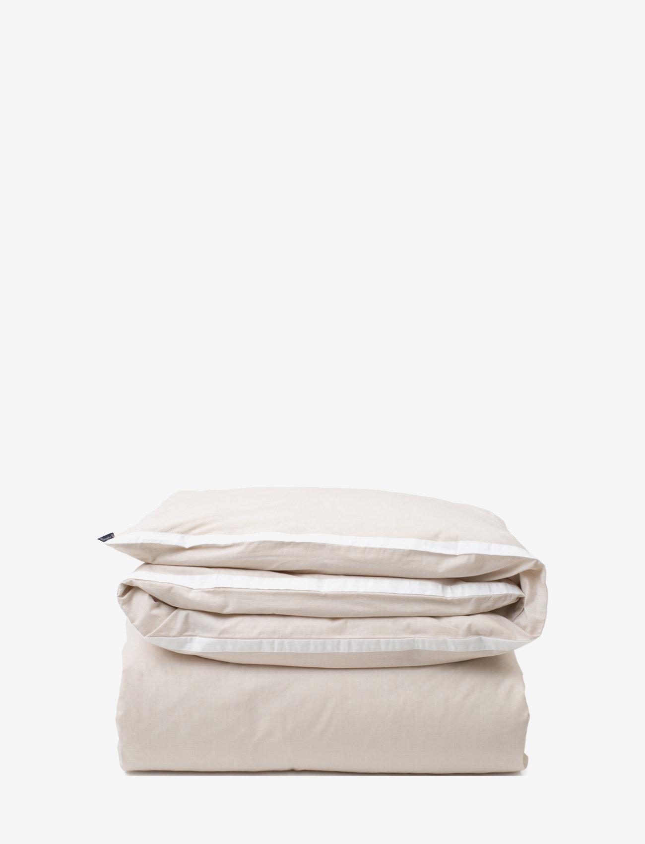Lexington Home - Beige/White Contrast Cotton Chambray Duvet Cover - housses de couette - beige/white - 0