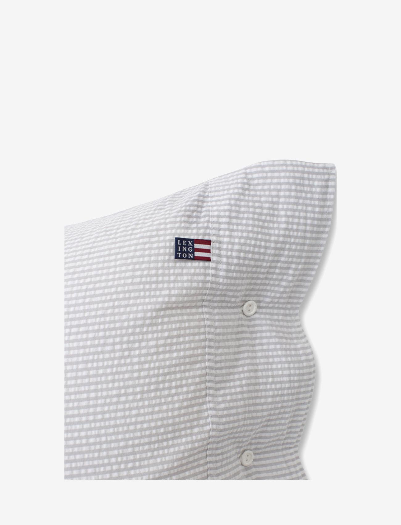 Lexington Home - Lt Gray/White Striped Cotton Seersucker Pillowcase - taie d'oreiller - lt gray/white - 1
