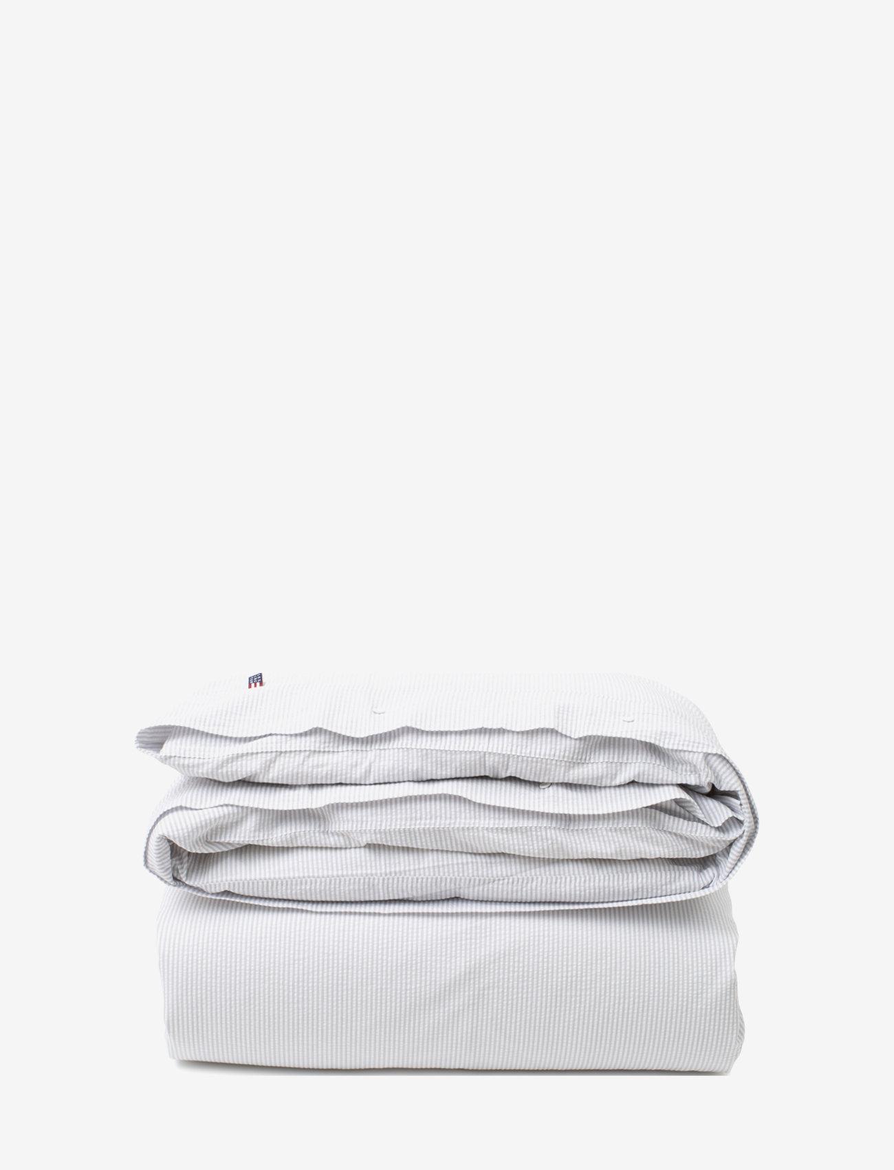 Lexington Home - LtGray/White Striped Cotton Seersucker Duvet Cover - duvet covers - lt gray/white - 0