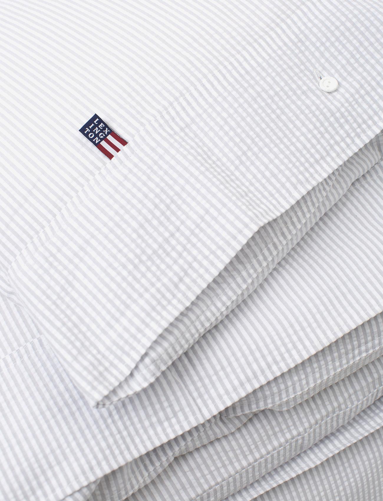 Lexington Home - LtGray/White Striped Cotton Seersucker Duvet Cover - duvet covers - lt gray/white - 1