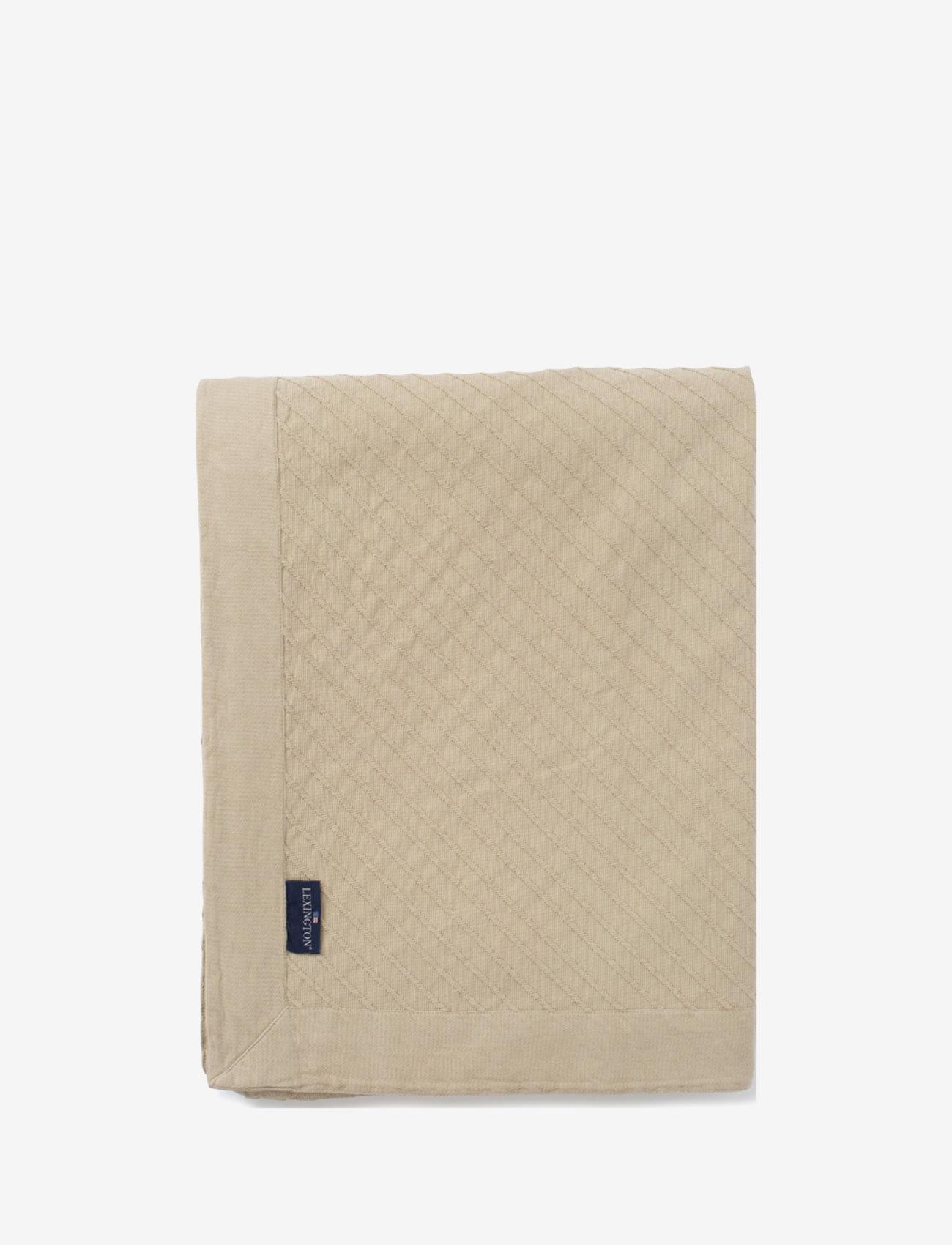 Lexington Home - Diagonal Structured Cotton Bedspread - blankets - lt beige - 0