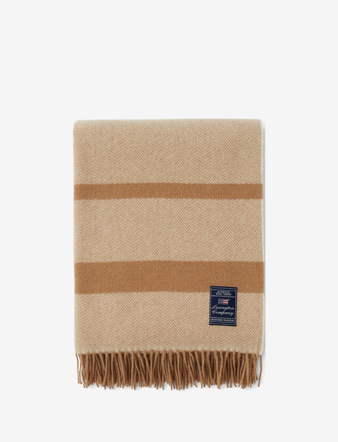 Lexington Home - Herringbone Recycled Wool Throw - blankets - beige - 0