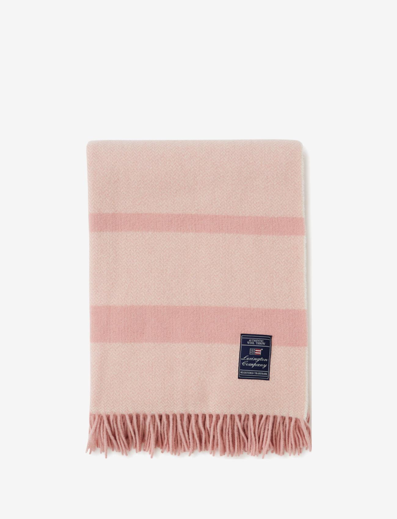 Lexington Home - Herringbone Recycled Wool Throw - blankets - pink - 0