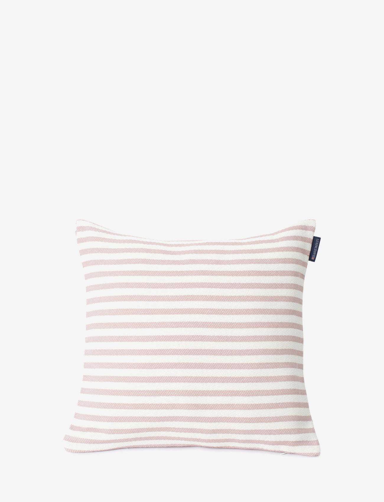 Lexington Home - Block Striped Recycled Cotton Pillow Cover - housses de coussins - pink - 0