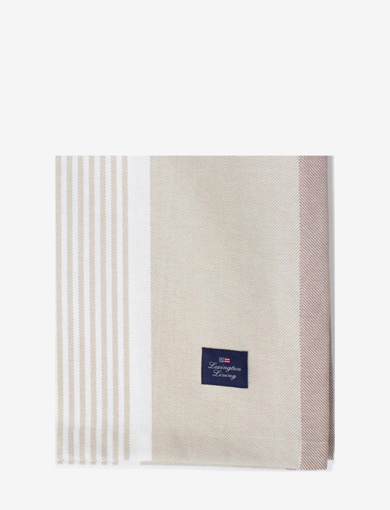 Lexington Home - Striped Cotton Twill Tablecloth - nappes et chemins de table - lt beige/white - 1