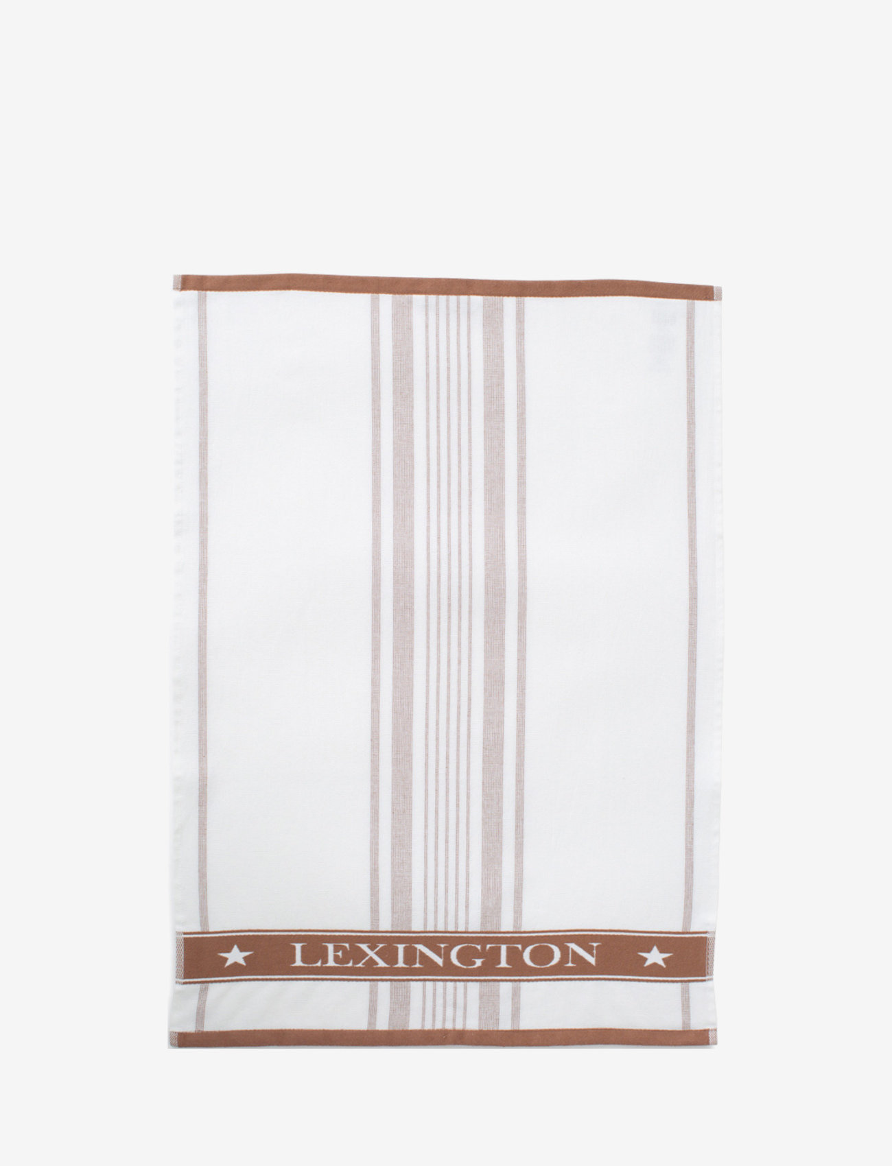 Lexington Home - Striped Cotton Terry Logo Kitchen Towel - uutuudet - white/brown - 0