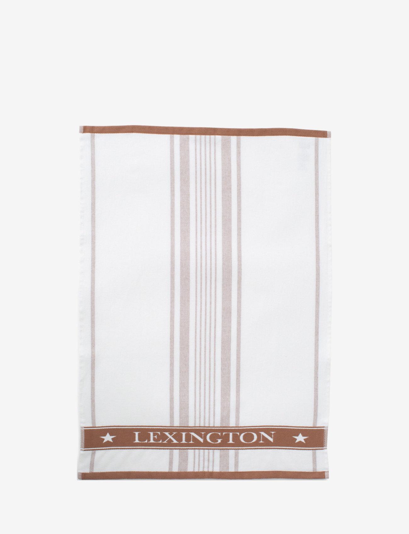 Lexington Home - Striped Cotton Terry Logo Kitchen Towel - nouveautes - white/brown - 0