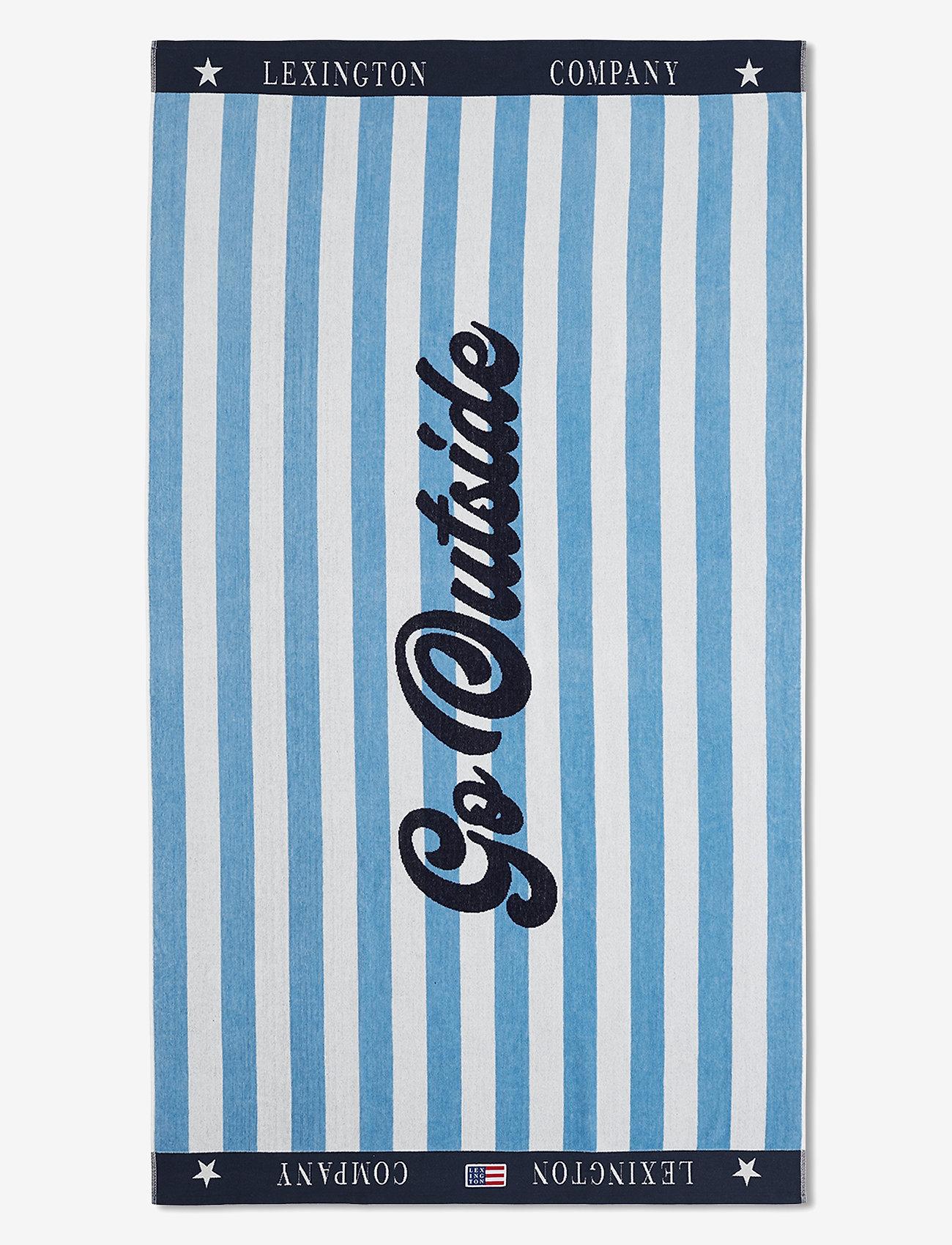 Lexington Home - Graphic Cotton Velour Beach Towel - hand towels & bath towels - blue/white - 0