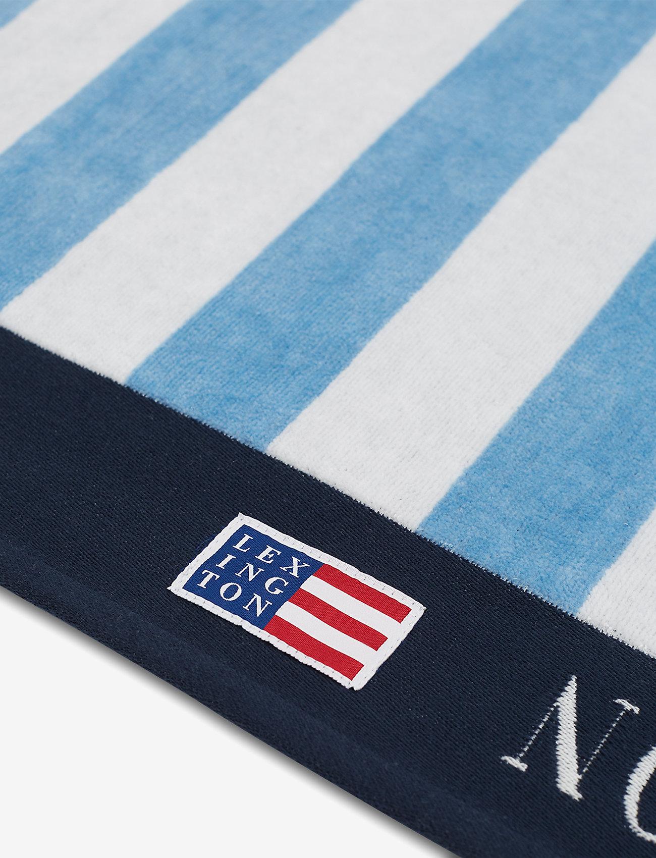 Lexington Home - Graphic Cotton Velour Beach Towel - hand towels & bath towels - blue/white - 1