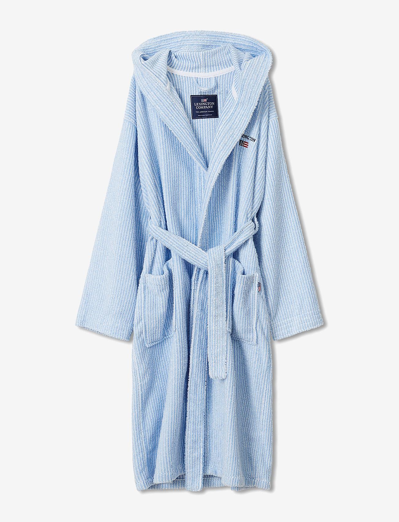Lexington Home - Striped Organic Cotton-Mix Hoodie Robe - vêtement de nuit - blue/white - 0