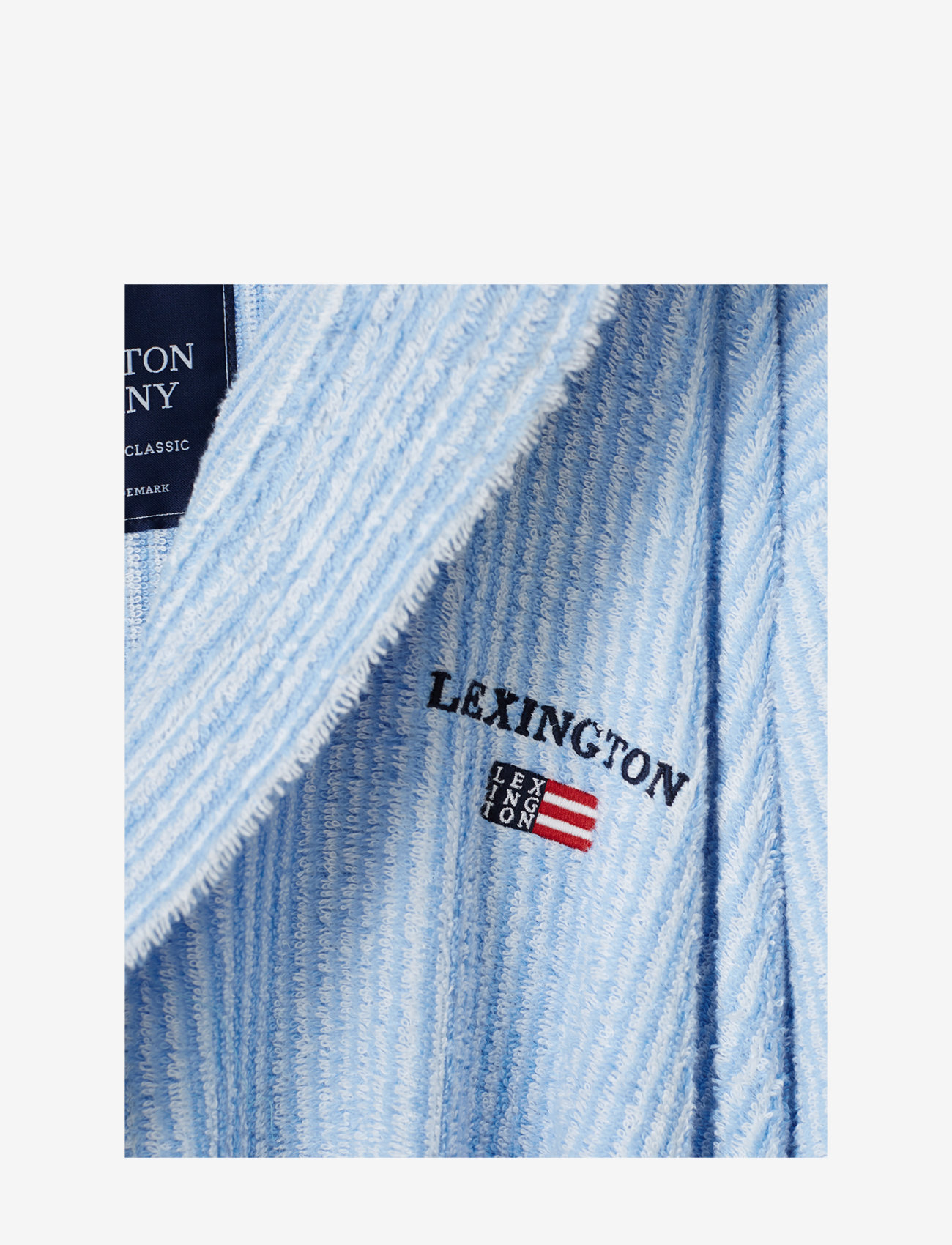 Lexington Home - Striped Organic Cotton-Mix Hoodie Robe - vêtement de nuit - blue/white - 1