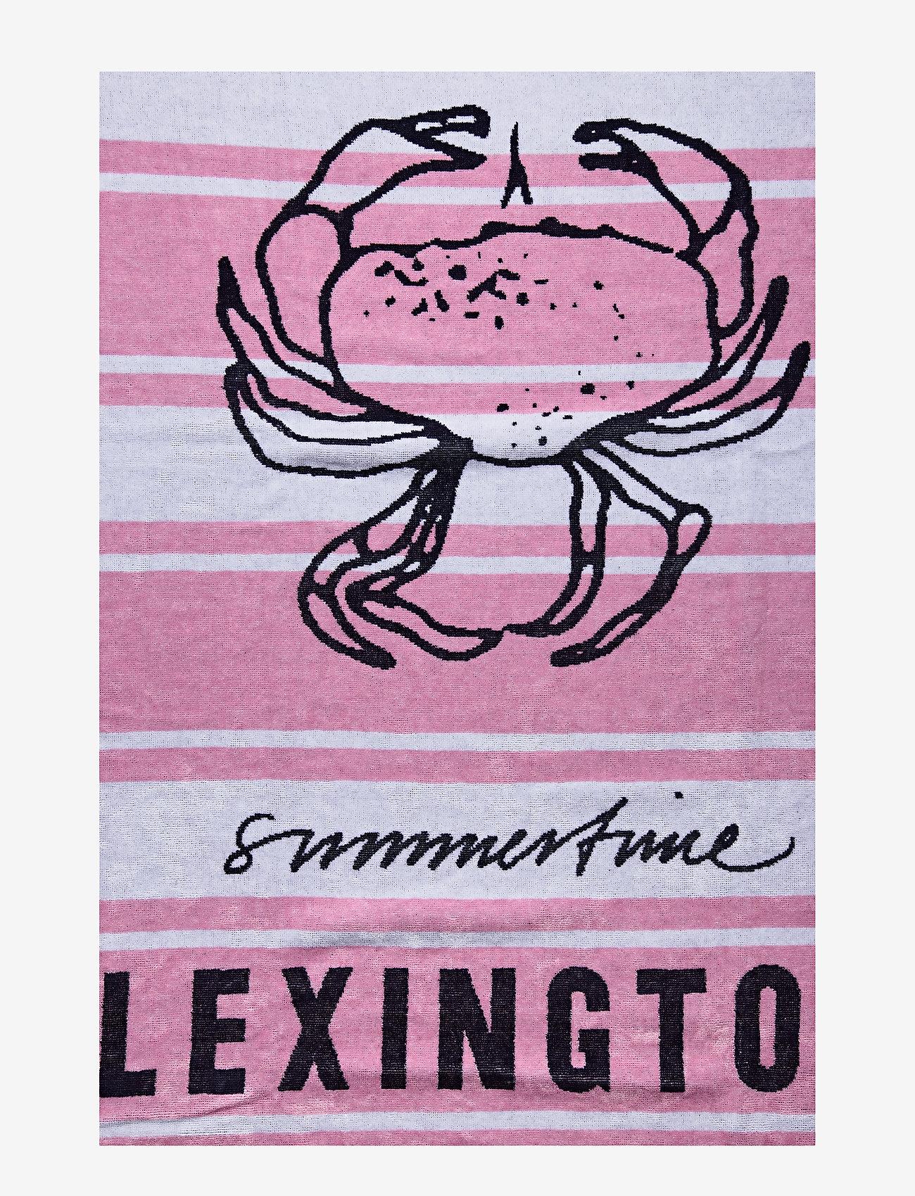 Lexington Home - Graphic Cotton Velour Beach Towel - muut - pink/white - 1