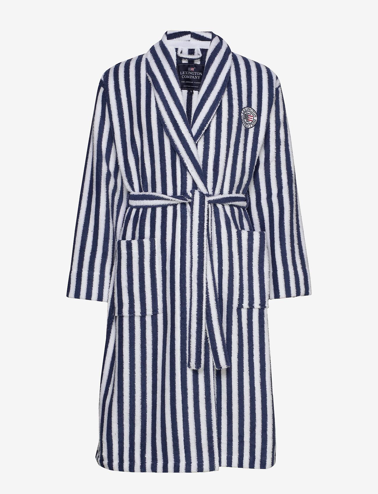 Lexington Home - Striped Cotton-Mix Terry Robe - yö- & oloasut - blue/white - 0