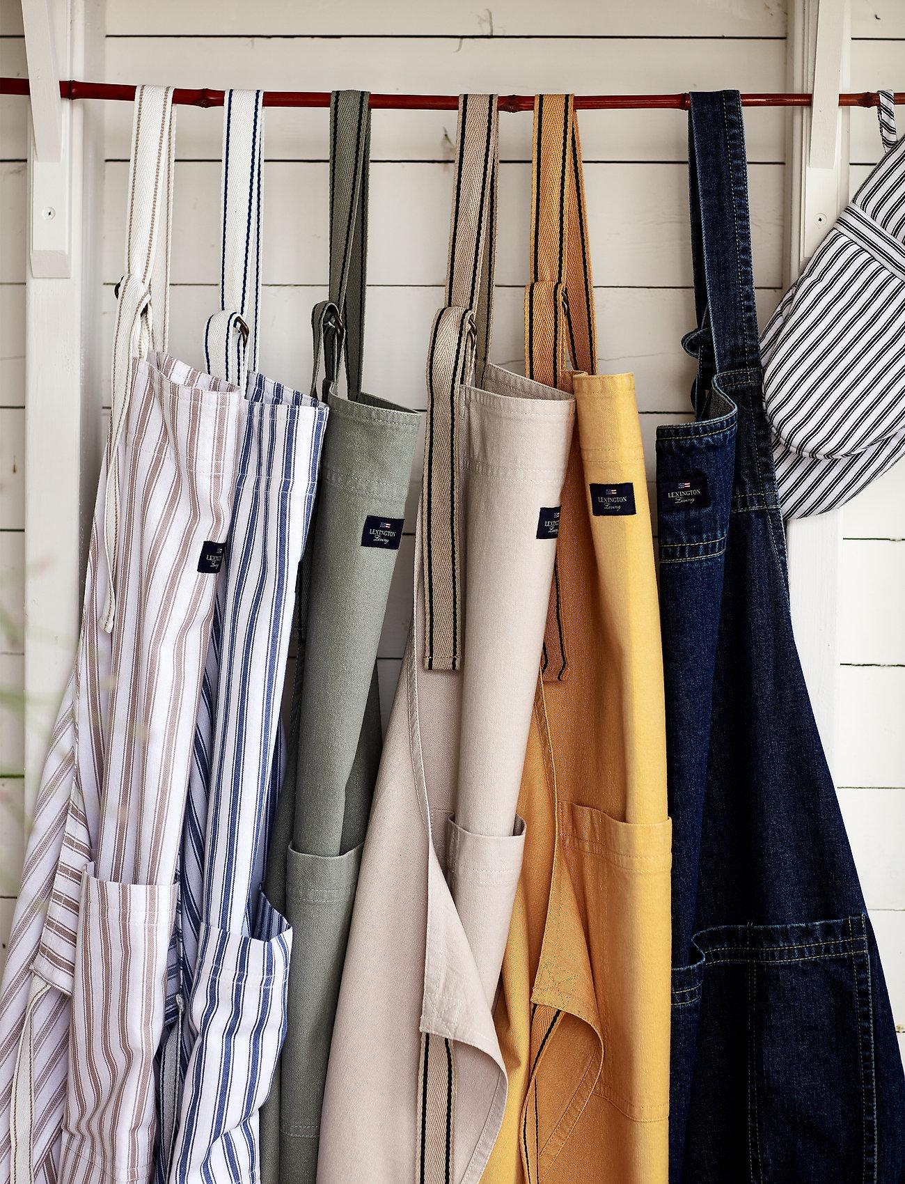 Lexington Home - Icons Cotton Herringbone Striped Apron - esiliinat - beige/white - 1