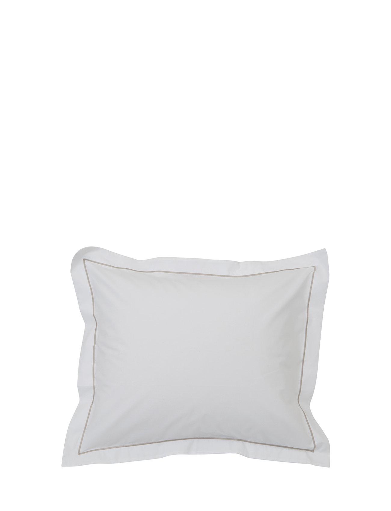 Lexington Home Hotel Percale White/Lt Beige Pillowcase - WHITE/LT BEIGE