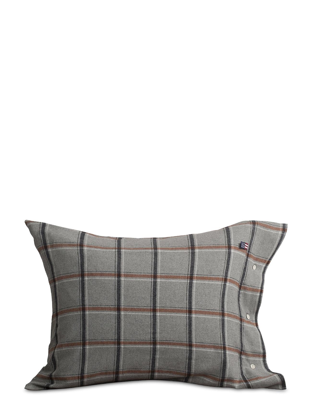 Lexington Home Checked Flannel Pillowcase - LT GRAY/WHITE/RUST CHECK