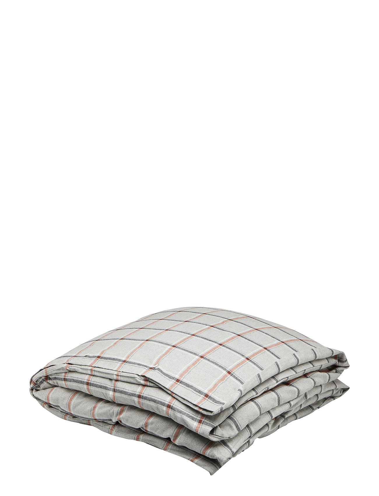 Lexington Home Checked Flannel Duvet - LT GRAY/WHITE/RUST CHECK