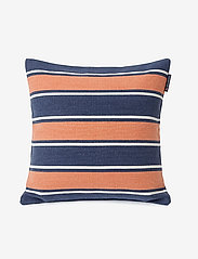 Lexington Home - Printed Stripes Recycled Cott Canvas Pillow Cover - coussins - peach melon/dk blue - 0