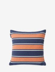 Lexington Home - Printed Stripes Recycled Cott Canvas Pillow Cover - coussins - peach melon/dk blue - 1