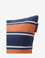 Lexington Home - Printed Stripes Recycled Cott Canvas Pillow Cover - coussins - peach melon/dk blue - 2