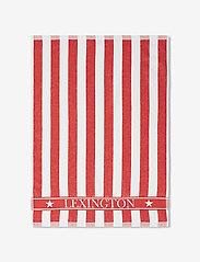 Lexington Home - Striped Logo Organic Cotton Terry Kitchen Towel - torchons - red/white - 0