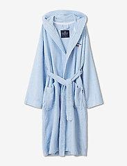 Striped Organic Cotton-Mix Hoodie Robe - BLUE/WHITE