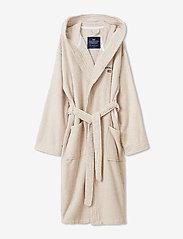Lexington Home - Striped Organic Cotton-Mix Hoodie Robe - vêtement de nuit - white/tan - 0