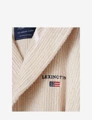 Lexington Home - Striped Organic Cotton-Mix Hoodie Robe - vêtement de nuit - white/tan - 1