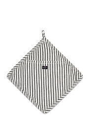 Icons Cotton Herringbone Striped Potholder - BLACK/WHITE