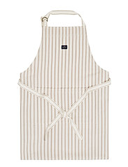 Icons Cotton Herringbone Striped Apron - BEIGE/WHITE