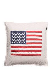 Flag Arts & Crafts Sham - BEIGE/WHITE