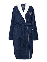 Lexington Cotton Velour Contrast Robe - DRESS BLUE/WHITE