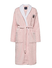 Lexington Cotton Velour Contrast Robe - PINK/WHITE