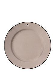Stoneware Dinner Plate - BEIGE/DK BLUE