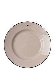 Stoneware Dessert Plate - BEIGE/DK BLUE