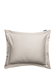 Beige/White Sateen Star Framed Pillowcase - BEIGE/WHITE