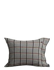 Checked Flannel Pillowcase - LT GRAY/WHITE/RUST CHECK