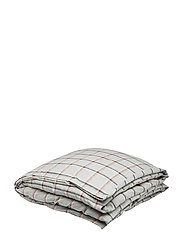 Checked Flannel Duvet - LT GRAY/WHITE/RUST CHECK