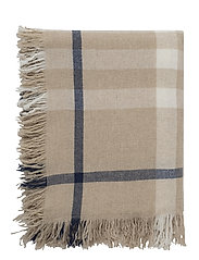 Checked Wool Throw - WHITE/BEIGE