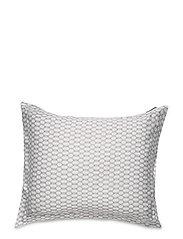 White/Dk Beige Printed Cotton Sateen Pillowcase - WHITE/DK BEIGE