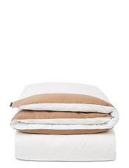 White/Dk Beige Contrast Cotton Sateen Duvet Cover - WHITE/DK BEIGE