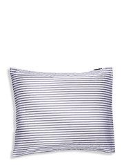 Striped Tencel/Cotton Pillowcase - WHITE/STEEL BLUE