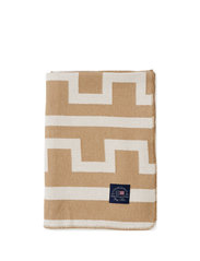 Graphic Recycled Cotton Blanket - OFF WHITE/BEIGE